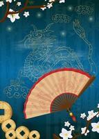 drago cinese dorato e un ventaglio tra i rami di sakura vettore