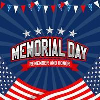 che celebra l'illustrazione del memorial day usa vettore