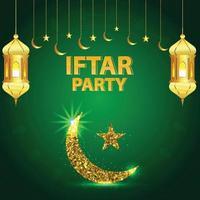 illustrazione vettoriale di iftar party con lanterna dorata e luna