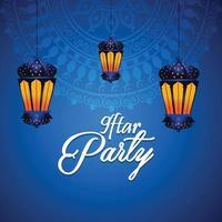 biglietto di auguri celebrazione festa iftar con lanterna araba e sfondo vettore