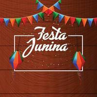 festa junina celebrazione sfondo con bandiera colorata festa nad lanterna di carta vettore