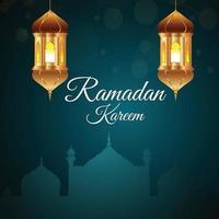 eid mubarak o ramadan mubarak sfondo con lanterna dorata creativa vettore