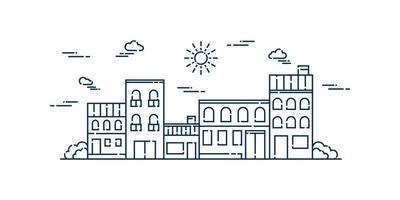 vettore paesaggio linea arte vettoriale. design linea piatta paesaggio suburbano. illustrazione vettoriale.