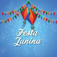 illustrazione di festa junina con bandiera colorata e lanterna di carta su sfondo creativo vettore