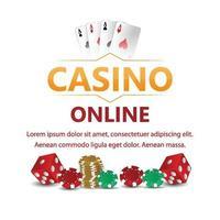 sfondo vip di lusso casinò online con fiches del casinò e dadi da poker vettore