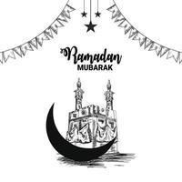 elementi di disegno a mano di ramadan mubarak vettore