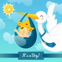 cicogna offrendo un bambino vettore