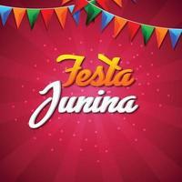 sfondo di invito festa junina con bandiera colorata illustrazione e lanterna di carta vettore