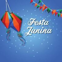 illustrazione di festa junina con bandiera colorata e lanterna di carta e chitarra vettore