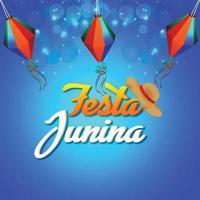 illustrazione realistica della festa junina con lanterna di carta e sfondo blu vettore