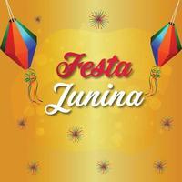 concetto di design festa junina su sfondo giallo con lanterna di carta vettore