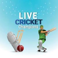 illustrazione vettoriale di giocatore di cricket con timbro