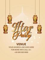 festa iftar con lanterna dorata appesa vettore