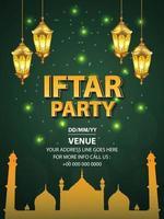 illustrazione vettoriale di iftar party flyer con lanterna dorata e sfondo verde