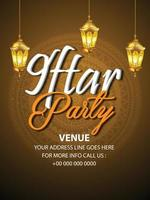 volantino di invito a una festa iftar con lanterna araba creativa vettore