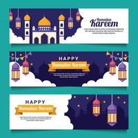 banner piatto ramadan kareem vettore