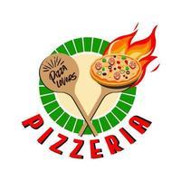 pizzeria, logo o etichetta di fast food. design di menu per bar e ristorante. illustrazione vettoriale gratis.