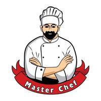 disegno di illustrazione vettoriale del logo del maestro chef. design di menu per bar e ristorante. eps vettoriali gratis 10.
