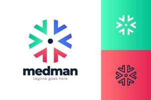 modello di progettazione di logo di concetto di assistenza sanitaria creativa. croce più elementi di modello di progettazione icona logo medico vettore