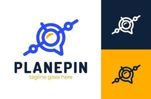 concetto di logo posizione pin aria. design del logo del punto di localizzazione del localizzatore. simbolo dell & # 39; icona di vettore del logotipo creativo dell'aeroplano. segno della mappa di navigazione.