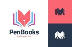 disegno del modello di logo del libro dello scrittore. illustrazione di progettazione di vettore del logotipo della penna del libro. modello di progettazione del logo di educazione