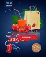 illustrazione di saldi estivi con frutta e succhi vettore