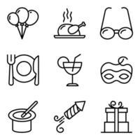 confezione di icone lineari di festa e cibo vettore
