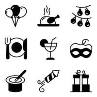 pacchetto di icone solide di festa e cibo vettore