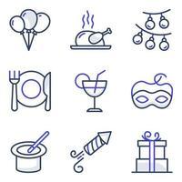 confezione di icone piatte di cibo e festa vettore