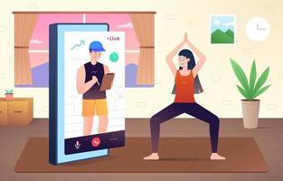 concetto di allenamento videochiamata online vettore