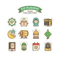 celebrazione di eid mubarak durante il mese sacro del ramadan vettore