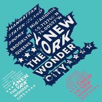 new york - tipografia della città delle meraviglie per francobolli di t-shirt, stampa di magliette, applique, slogan di moda, badge, etichette di abbigliamento, jeans e abbigliamento casual. illustrazione vettoriale