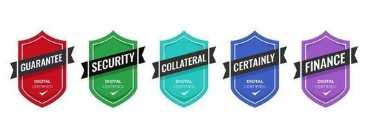 modello di progettazione di badge logo di sicurezza. badge certificato aziendale digitale per formazione, corso, garanzia, sicurezza, illustrazione vettoriale ecc.