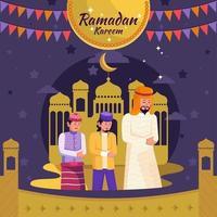 gli uomini pregano in moschea per celebrare il ramadan kareem vettore