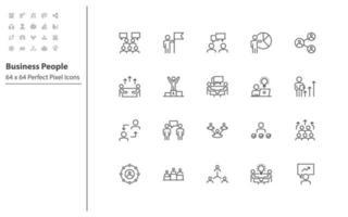 set di icone di linea sottile di uomini d'affari vettore
