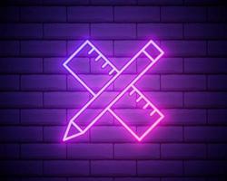 incandescente neon attraversato righello e icona matita isolato su sfondo muro di mattoni. simbolo di righello. strumenti di disegno e didattici. illustrazione vettoriale