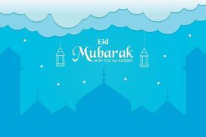 eid mubarak saluto banner vettore