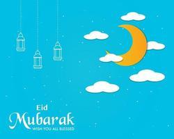 semplice eid mubarak sfondo vettoriale