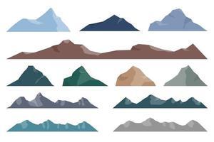 illustrazione di disegno vettoriale di montagna set isolato su sfondo bianco