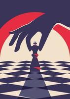 poster modello con mano che tiene il pezzo degli scacchi. vettore