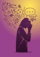 donna che soffre di depressione, disturbo mentale vettore