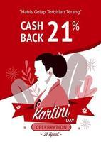 poster di vendita celebrazione felice giorno kartini vettore