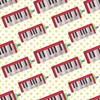 illustrazione del modello senza cuciture dello strumento musicale melodica vettore