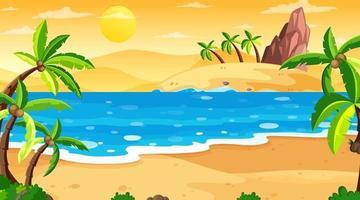 scena di paesaggio spiaggia tropicale al tramonto vettore
