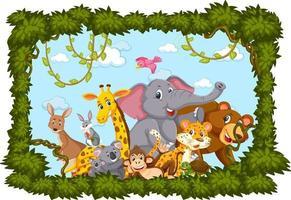 gruppo di animali selvatici con cornice di foglie vettore