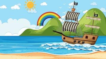 oceano con nave pirata alla scena del giorno in stile cartone animato vettore
