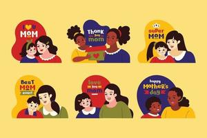 raccolta di adesivi per la festa della mamma multiculturale vettore