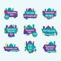 confezione di etichette colorate di grande vendita di ramadan vettore