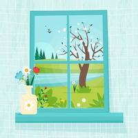 finestra primaverile con vista, vaso con fiori sul davanzale vettore