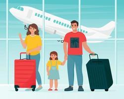 famiglia che viaggia in aeroporto con le valigie vettore
